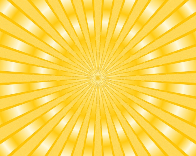 Yellow stripes background with golden rays