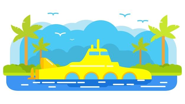 Желтый подводный тропический остров с пальмами