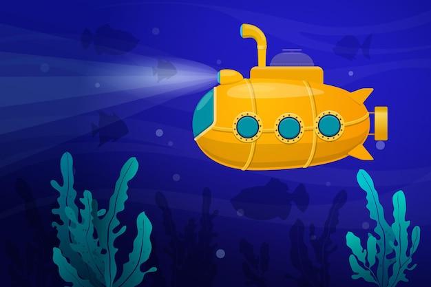 Желтая подводная лодка под водой в окружении рыб и водорослей подводная лодка исследует морское дно