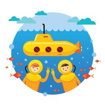 Желтая подводная лодка с детьми, ныряющими