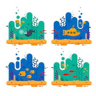 Желтая подводная лодка с перископной подводной концепцией.