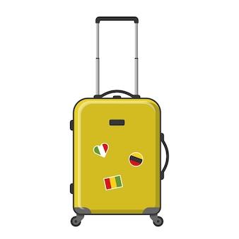 Желтый чемодан на колесах, иллюстрация, изолированные на белом фоне