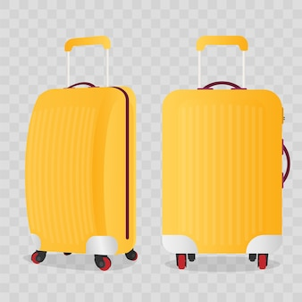 Yellow suitcase for travel