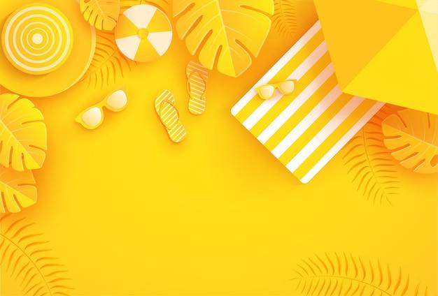 종이 스타일에 노란색 여름 배경