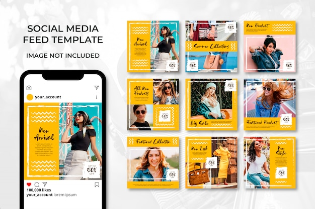 Yellow summer fashion social media post template bundle