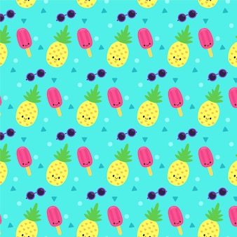 Yellow summer pattern with ice cream and pineapple