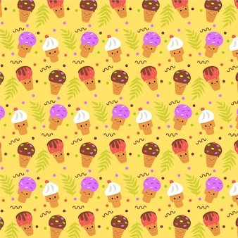 Yellow summer pattern with ice cream Premium Vector