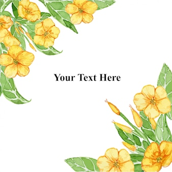Yellow summer ranunculus flower  frame watercolor illustration