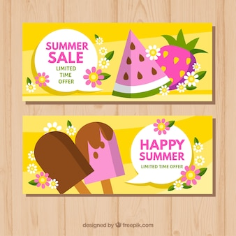 Yellow summer sale banner collection