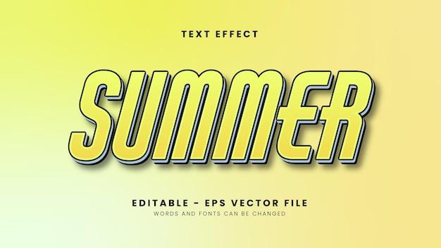 Yellow summer text effect Premium Vector