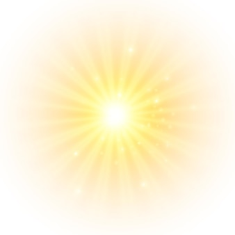 The yellow sun a flash a soft glow without departing rays star flashed with sparkles
