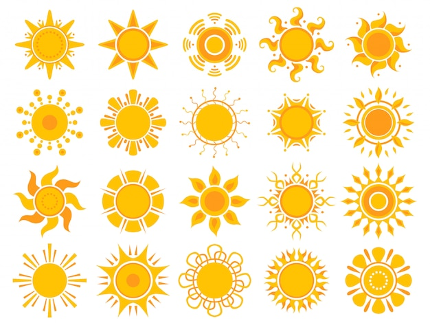 Yellow sun icon. orange weather sunshine summer abstract symbols isolated
