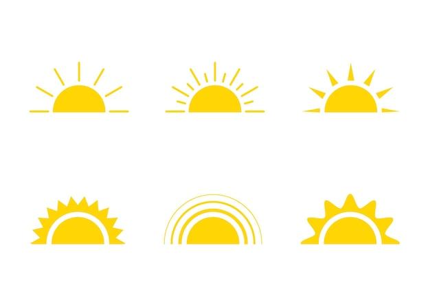 노란 태양 아이콘 햇빛과 일출 또는 일몰 장식 태양
