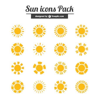 Yellow sun icons pack