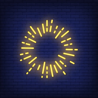 Yellow sun ray circle on brick background. neon style illustration. firework, frame