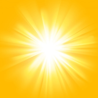 Yellow sun rays with orange flare