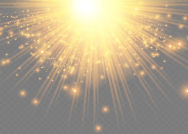 따뜻한 오렌지 플레어가 있는 노란 태양 광선