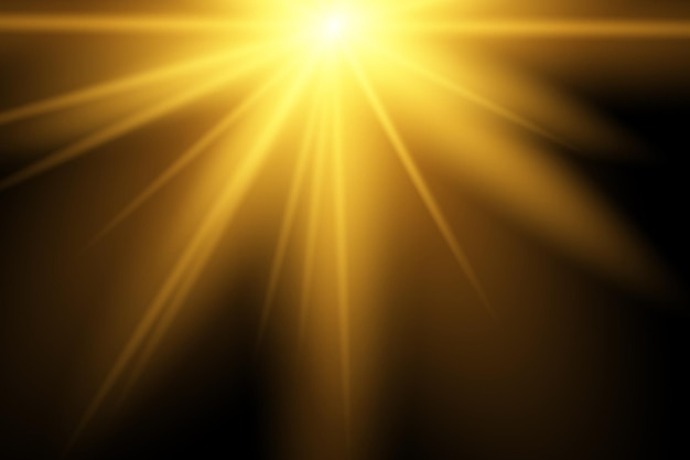 暖かいオレンジ色のフレアと黄色の太陽光線