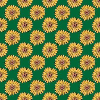 黄色のヒマワリ装飾シームレスパターン