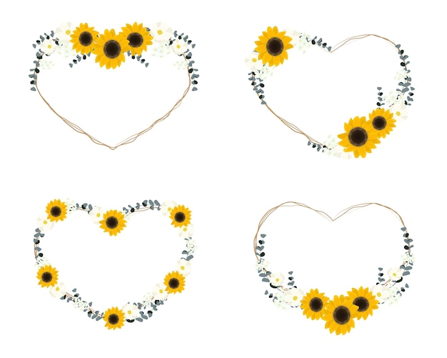 Yellow sunflower wild flower and eucalyptus leaf on dry twig bouquet heart wreath frame collection flat style