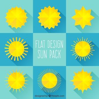 Yellow suns in flat design