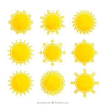 Yellow suns in watercolor style