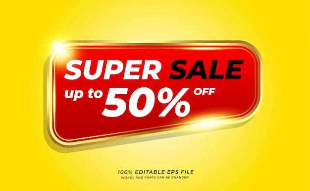 Yellow super sale banner with golden outline on red background
