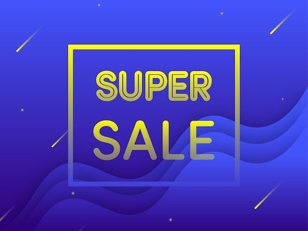 Yellow super sale text on blue overlapping waves background