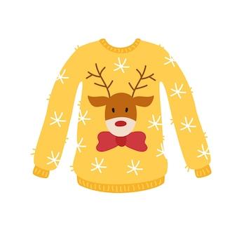かわいいお正月鹿と黄色いセーター。ニットの冬服