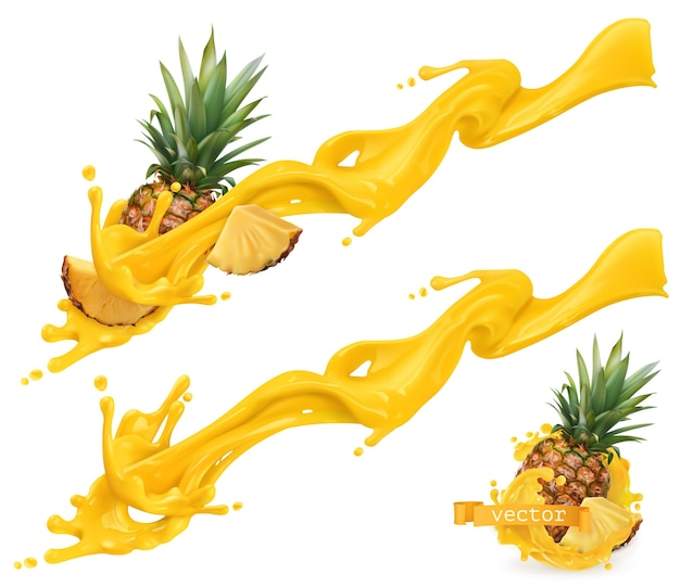 Yellow sweet splash and pineapple. 3d realistic vector illustration