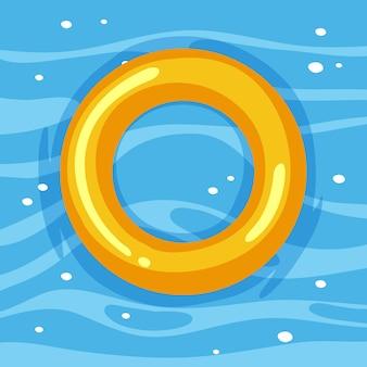隔離された水の中の黄色い浮き輪