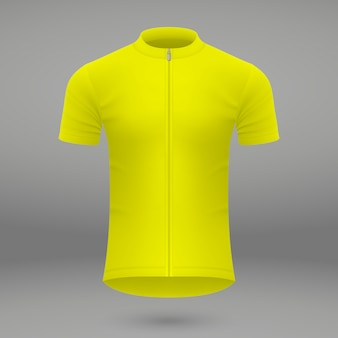 Yellow t-shirt template for cycling jersey