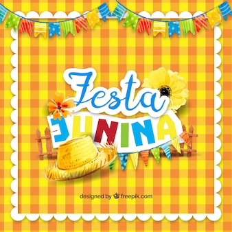 Yellow tablecloth background with traditional elements of festa party