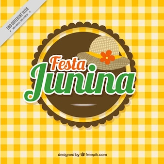 Yellow tablecloth festa junina background