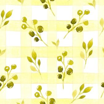 Желтый тартан с ветвями акварель бесшовный фон