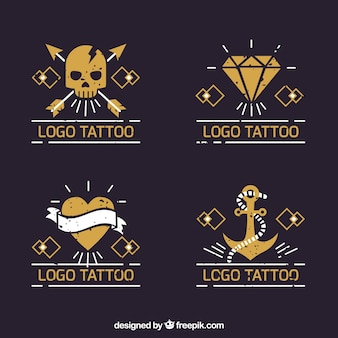 Yellow tattoo logo collection