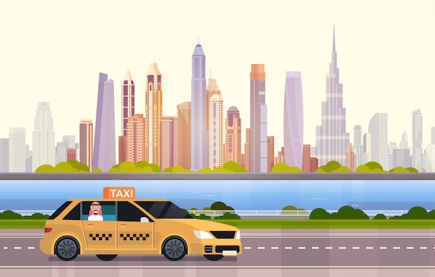 Yellow taxi car cab on road over dubai city