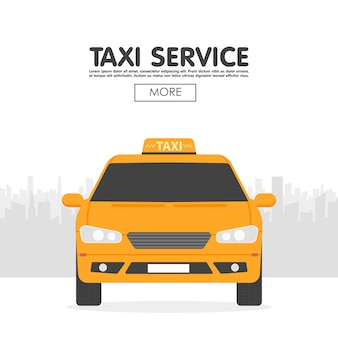 Yellow taxi car in front of city silhouette template