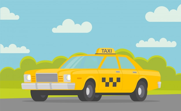 Yellow taxi car on the road  taxi service