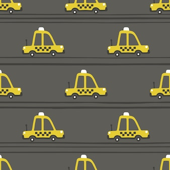 Yellow taxi car seamless pattern. childish illustration in scandinavian simple hand-drawn style. the limited palette is ideal for printing on baby clothes, digital paper