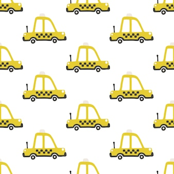 Yellow taxi car seamless pattern, childish illustration in scandinavian simple hand-drawn style.