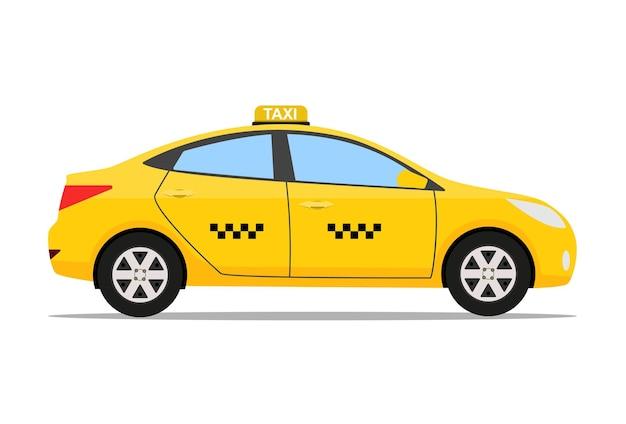 노란색 택시 자동차, 택시 아이콘, 콜택시 개념, 흰색 배경에 고립 된 간단한 평면 디자인의 벡터 일러스트 레이 션