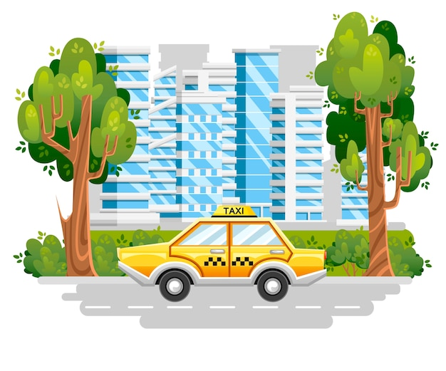 Yellow taxi car. taxi service. car on road in modern city. blue buildings with green tree and bushes.   .  illustration