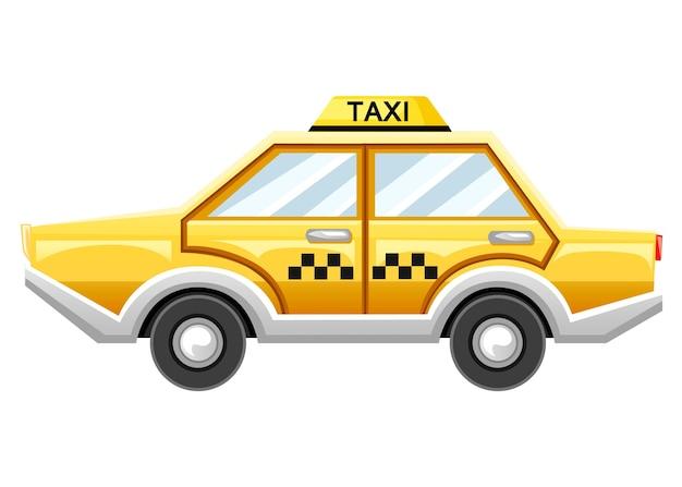 Желтое такси. такси. катрун. иллюстрация на белом фоне