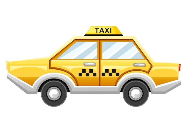 Yellow taxi car. taxi service. catroon  .  illustration  on white background