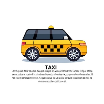 Yellow taxi car on white