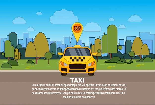 Yellow taxi car with gps location pointer online cab service concept
