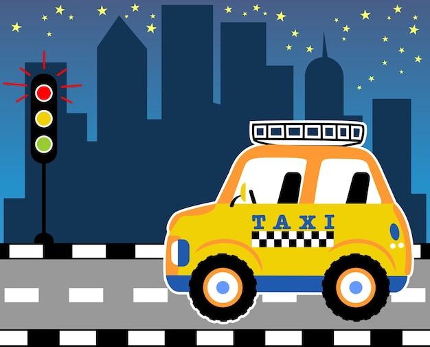 Yellow taxi cartoon vector