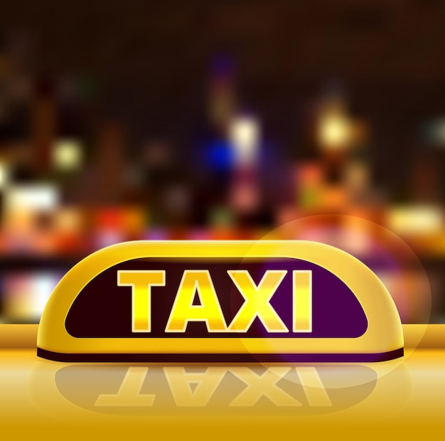 Yellow taxi sign on the roof of car in a city street. new york taxi car at night. luminous neon taxi sign on bokeh big city background.  illustration.