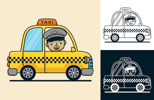 Yellow taxi with smiling driver. vector cartoon illustration in flat icon style